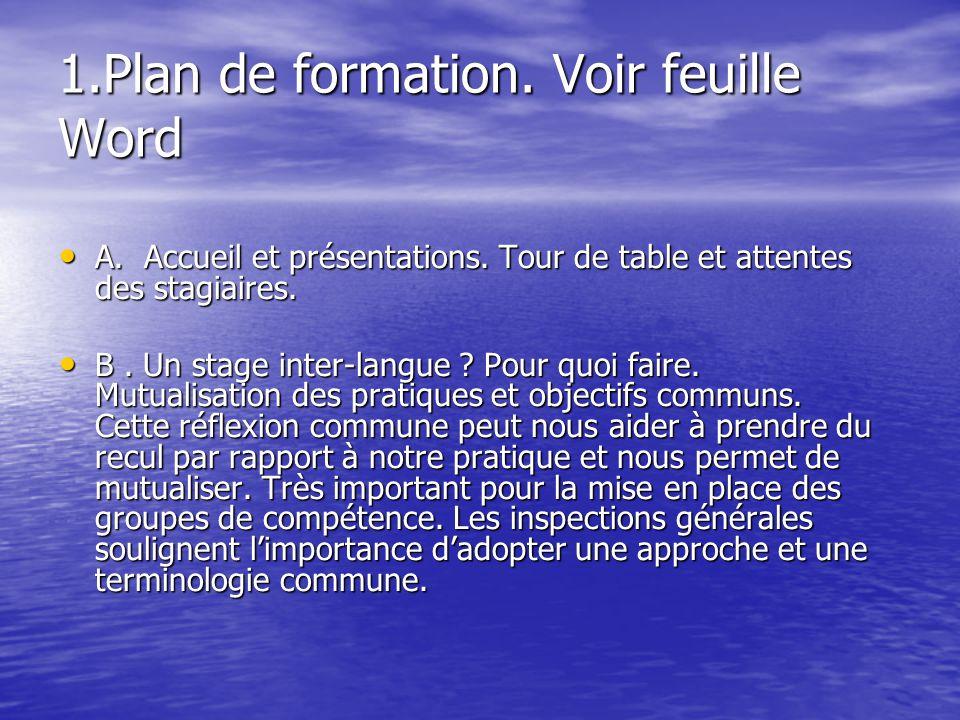 1.Plan de formation. Voir feuille Word A. Accueil et présentations. Tour de table et attentes des stagiaires. A. Accueil et présentations. Tour de tab