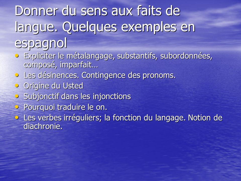 Donner du sens aux faits de langue. Quelques exemples en espagnol Expliciter le métalangage, substantifs, subordonnées, composé, imparfait… Expliciter