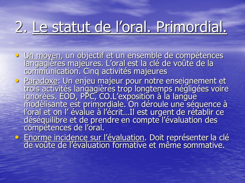 2. Le statut de loral. Primordial. Un moyen, un objectif et un ensemble de compétences langagières majeures. Loral est la clé de voûte de la communica