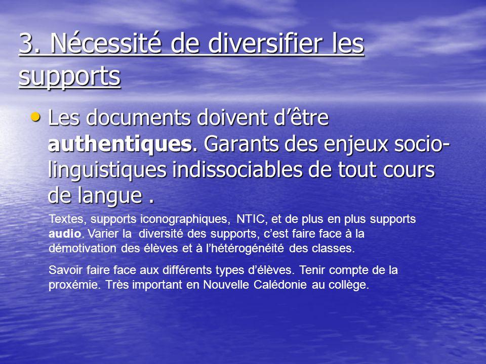 3. Nécessité de diversifier les supports Les documents doivent dêtre authentiques. Garants des enjeux socio- linguistiques indissociables de tout cour