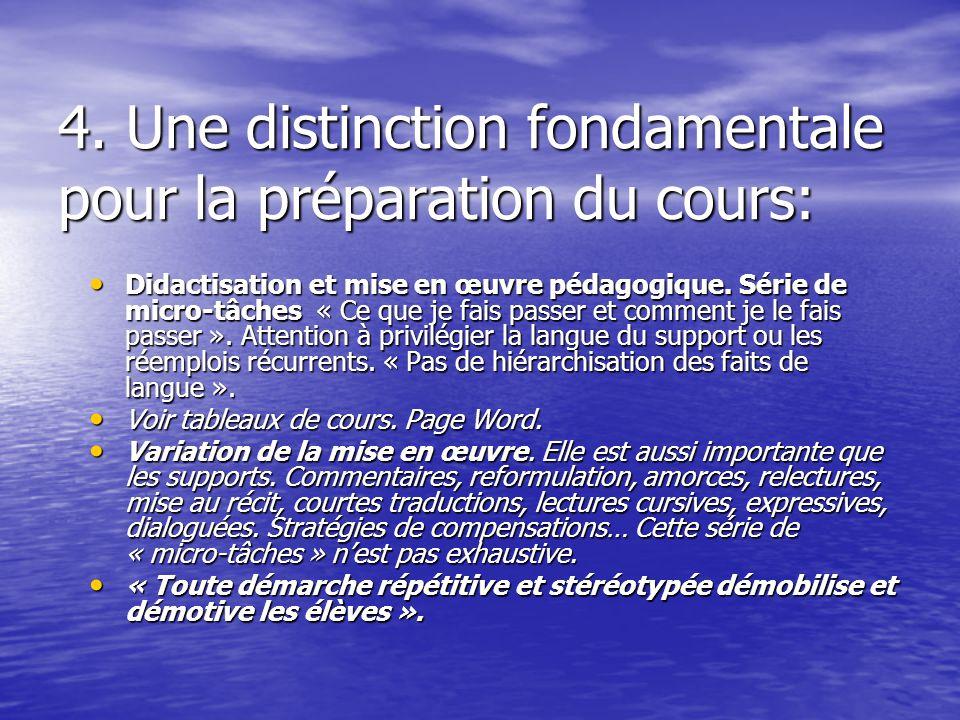 4. Une distinction fondamentale pour la préparation du cours: Didactisation et mise en œuvre pédagogique. Série de micro-tâches « Ce que je fais passe