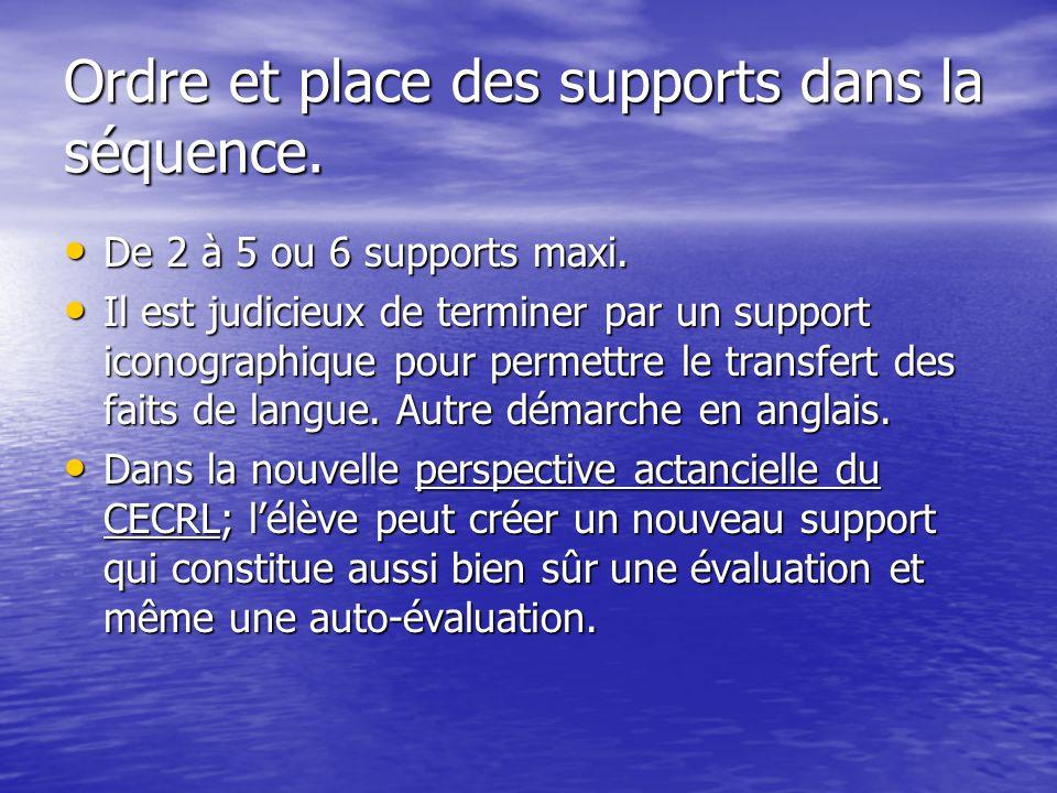Ordre et place des supports dans la séquence. De 2 à 5 ou 6 supports maxi. De 2 à 5 ou 6 supports maxi. Il est judicieux de terminer par un support ic