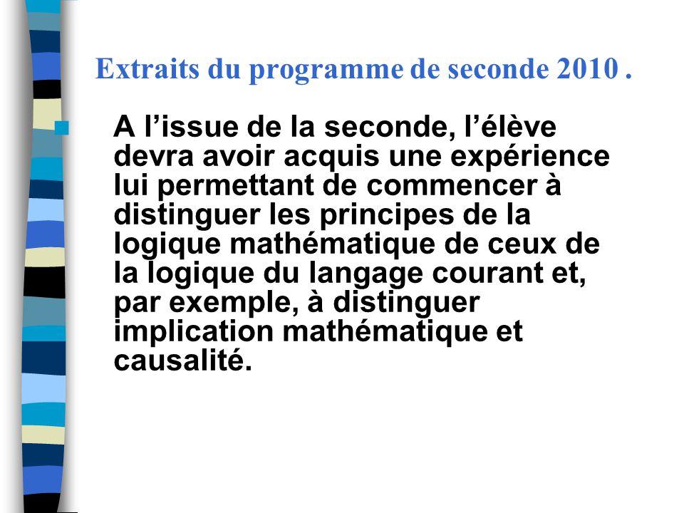 Extraits du programme de seconde 2010. A lissue de la seconde, lélève devra avoir acquis une expérience lui permettant de commencer à distinguer les p