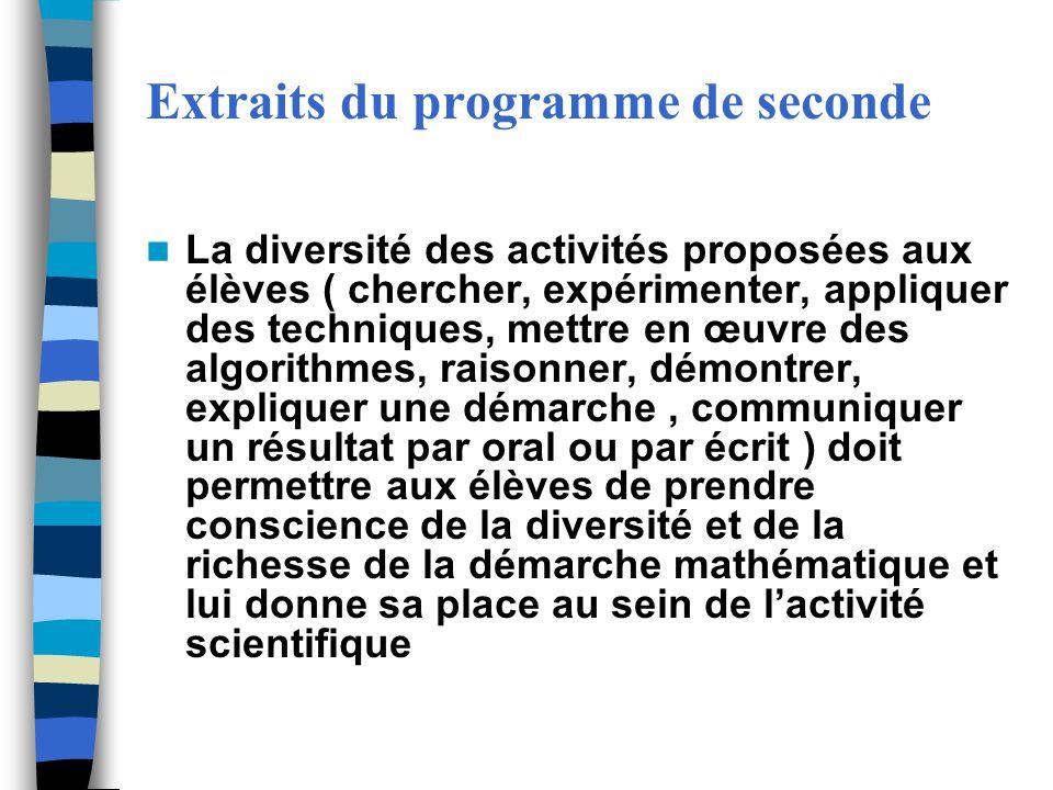 Extraits du programme de seconde La diversité des activités proposées aux élèves ( chercher, expérimenter, appliquer des techniques, mettre en œuvre d