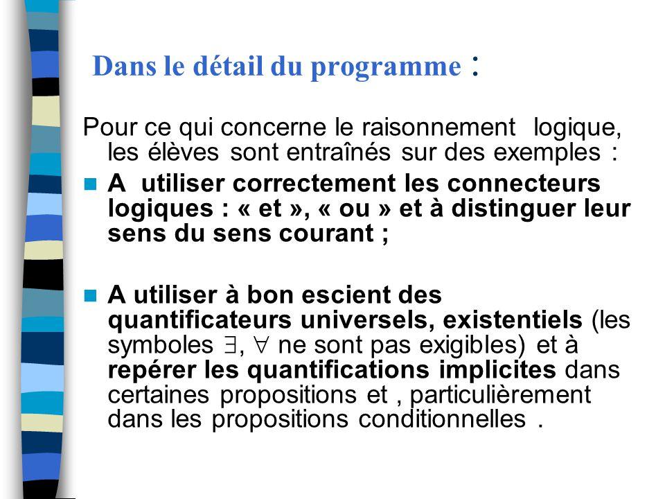 Dans le détail du programme : Pour ce qui concerne le raisonnement logique, les élèves sont entraînés sur des exemples : A utiliser correctement les c