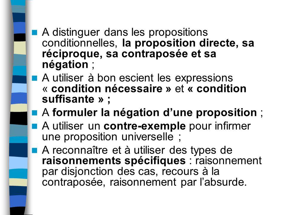A distinguer dans les propositions conditionnelles, la proposition directe, sa réciproque, sa contraposée et sa négation ; A utiliser à bon escient le