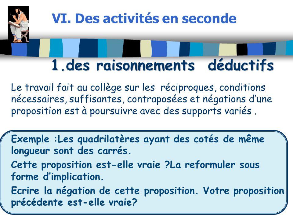 VI. Des activités en seconde 1.des raisonnements déductifs Le travail fait au collège sur les réciproques, conditions nécessaires, suffisantes, contra