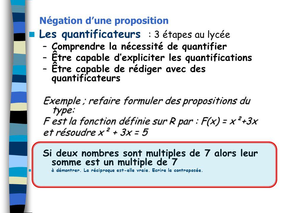 Négation dune proposition Les quantificateurs : 3 étapes au lycée –Comprendre la nécessité de quantifier –Être capable dexpliciter les quantifications
