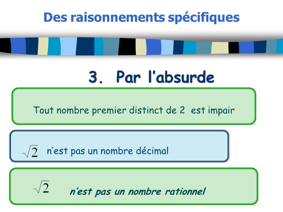 Des raisonnements spécifiques 3.Par labsurde Tout nombre premier distinct de 2 est impair nest pas un nombre décimal nest pas un nombre rationnel