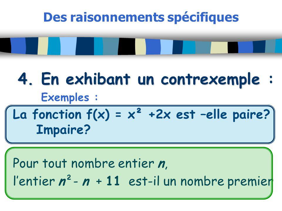 Des raisonnements spécifiques 4. En exhibant un contrexemple 4. En exhibant un contrexemple : Exemples : La fonction f(x) = x² +2x est –elle paire? Im