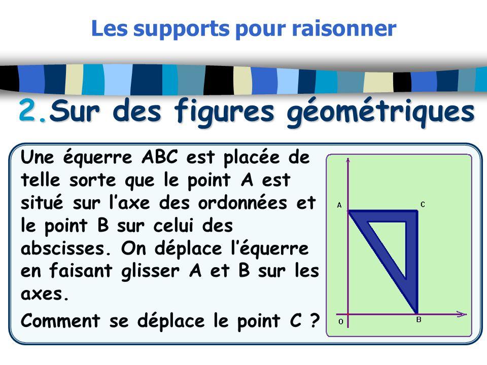 2.Sur des figures géométriques Les supports pour raisonner 2.Sur des figures géométriques Une équerre ABC est placée de telle sorte que le point A est