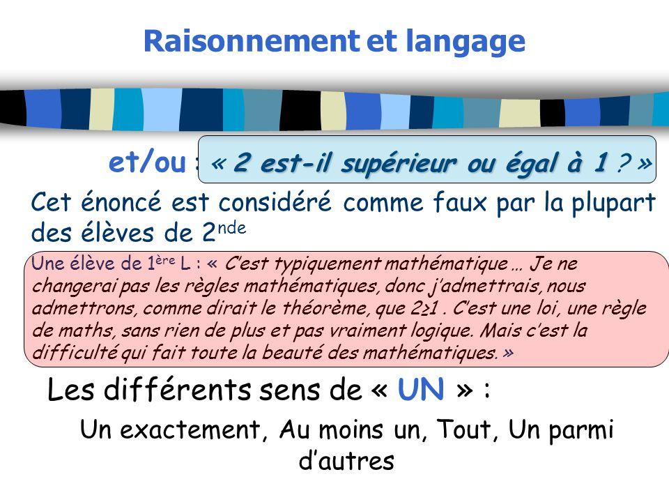 Raisonnement et langage 2 est-il supérieur ou égal à 1 et/ou : « 2 est-il supérieur ou égal à 1 ? » Cet énoncé est considéré comme faux par la plupart