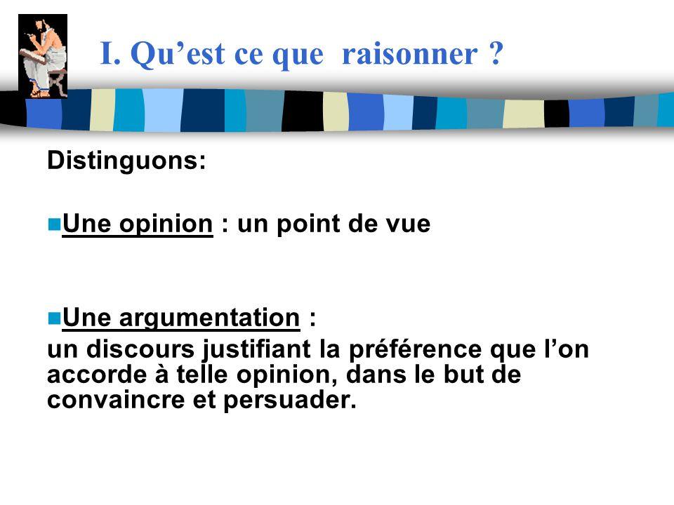 I. Quest ce que raisonner ? Distinguons: Une opinion : un point de vue Une argumentation : un discours justifiant la préférence que lon accorde à tell