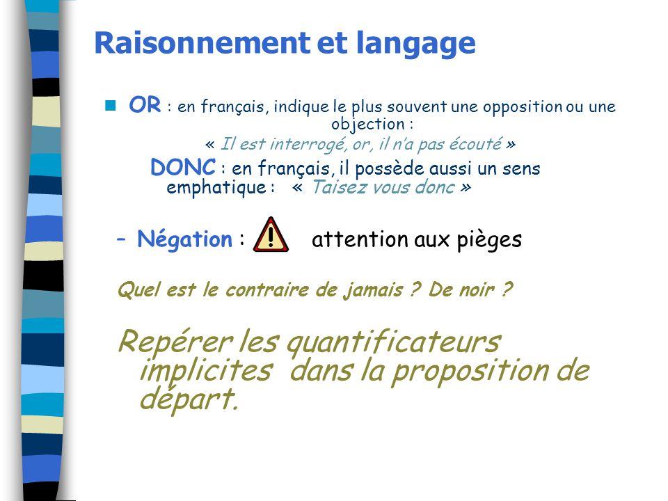 Raisonnement et langage OR : en français, indique le plus souvent une opposition ou une objection : « Il est interrogé, or, il na pas écouté » DONC :