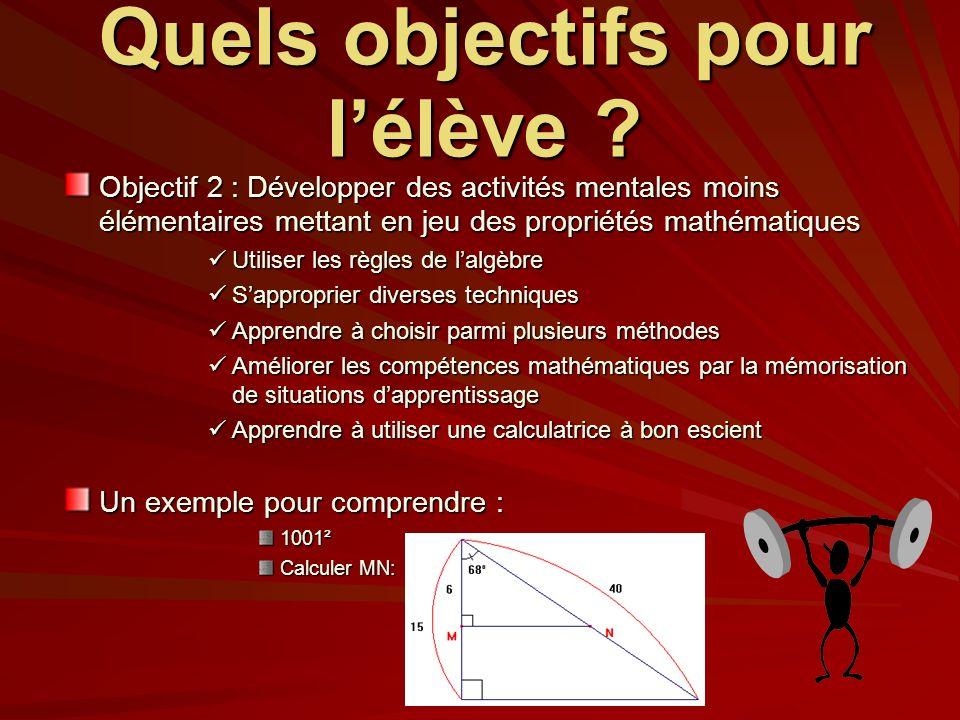 Quels objectifs pour lélève ? Objectif 2 : Développer des activités mentales moins élémentaires mettant en jeu des propriétés mathématiques Utiliser l