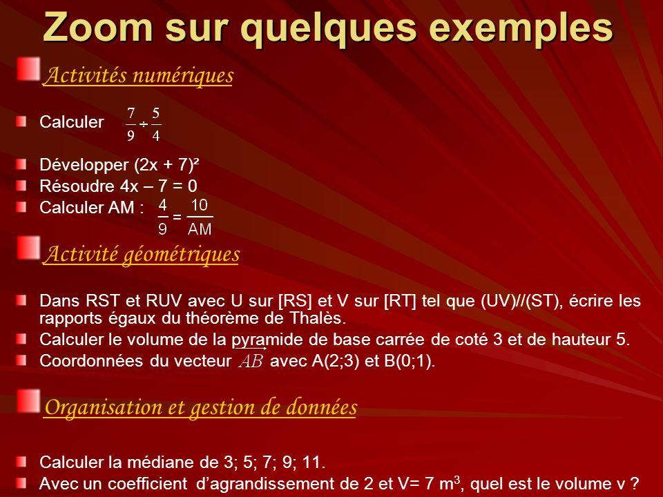 Zoom sur quelques exemples Activités numériques Calculer Développer (2x + 7)² Résoudre 4x – 7 = 0 Calculer AM : Activité géométriques Dans RST et RUV avec U sur [RS] et V sur [RT] tel que (UV)//(ST), écrire les rapports égaux du théorème de Thalès.