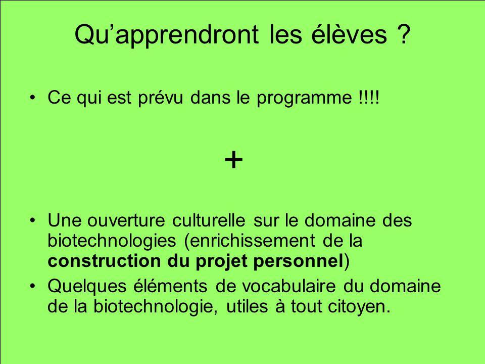 Quapprendront les élèves ? Ce qui est prévu dans le programme !!!! + Une ouverture culturelle sur le domaine des biotechnologies (enrichissement de la