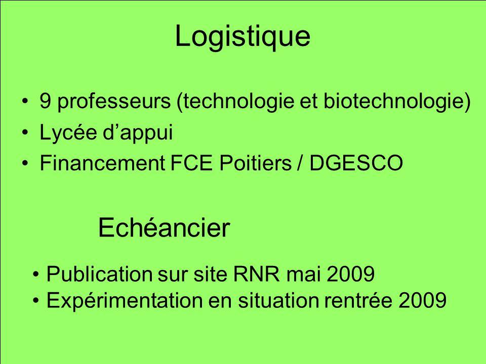 Logistique 9 professeurs (technologie et biotechnologie) Lycée dappui Financement FCE Poitiers / DGESCO Publication sur site RNR mai 2009 Expérimentat
