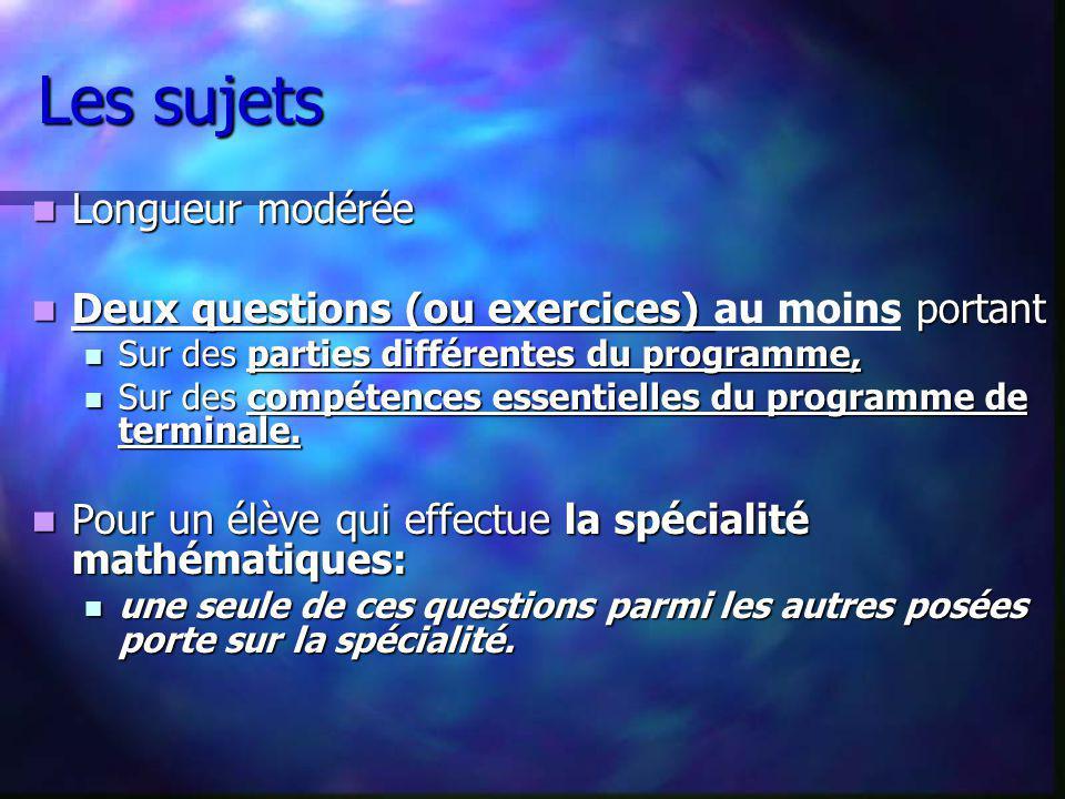 Les sujets Longueur modérée Longueur modérée Deux questions (ou exercices) portant Deux questions (ou exercices) au moins portant Sur des parties diff