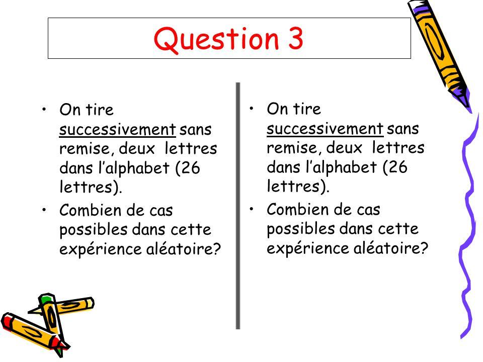 Question 3 On tire successivement sans remise, deux lettres dans lalphabet (26 lettres). Combien de cas possibles dans cette expérience aléatoire? On