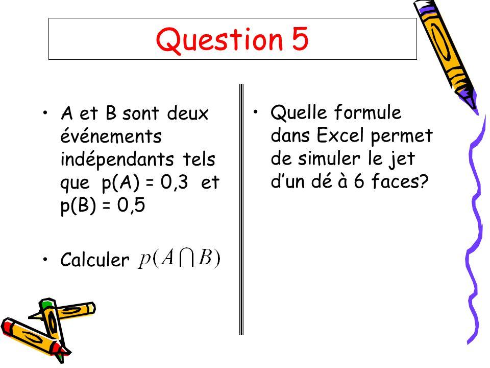 Question 5 A et B sont deux événements indépendants tels que p(A) = 0,3 et p(B) = 0,5 Calculer Quelle formule dans Excel permet de simuler le jet dun