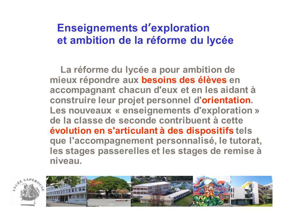 Enseignements dexploration et ambition de la réforme du lycée La réforme du lycée a pour ambition de mieux répondre aux besoins des élèves en accompag