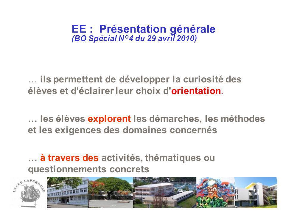 EE : Présentation générale (BO Spécial N°4 du 29 avril 2010) … ils permettent de développer la curiosité des élèves et d'éclairer leur choix d'orienta