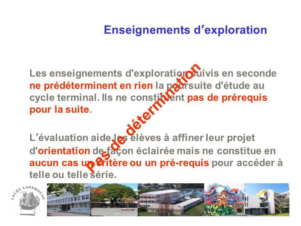 Enseignements dexploration Les enseignements d'exploration suivis en seconde ne prédéterminent en rien la poursuite d'étude au cycle terminal. Ils ne