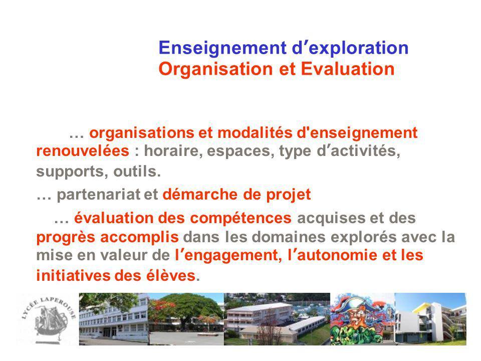 Enseignement dexploration Organisation et Evaluation … organisations et modalités d'enseignement renouvelées : horaire, espaces, type dactivités, supp