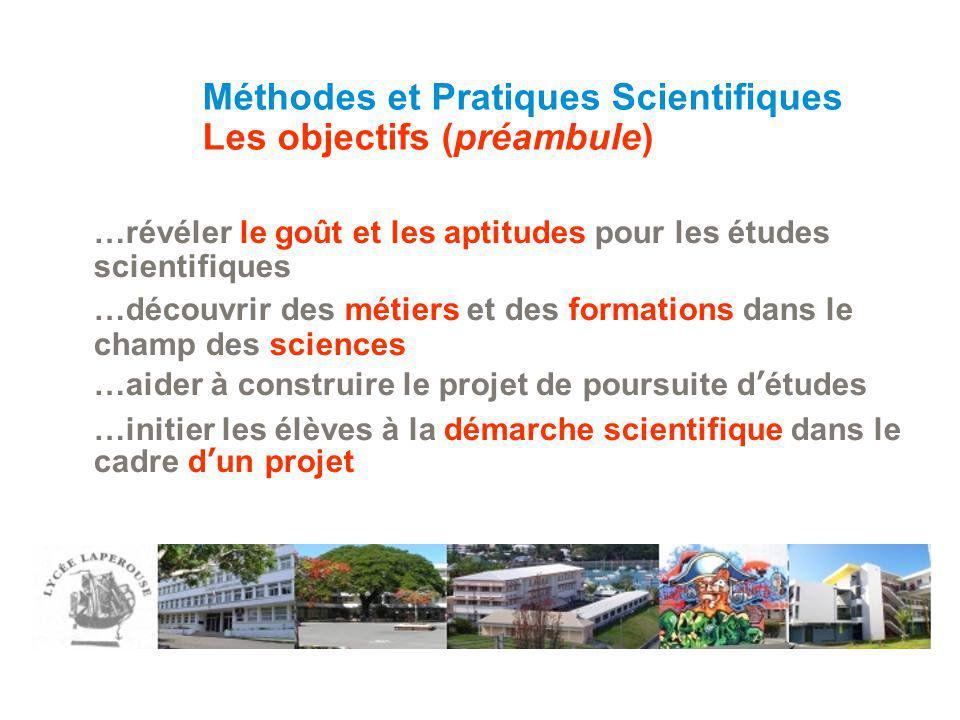 …révéler le goût et les aptitudes pour les études scientifiques …découvrir des métiers et des formations dans le champ des sciences …aider à construir