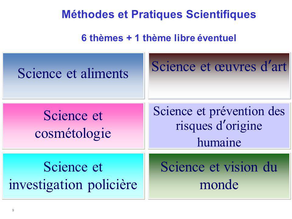 Méthodes et Pratiques Scientifiques 6 thèmes + 1 thème libre éventuel 9 Science et aliments Science et cosmétologie Science et investigation policière