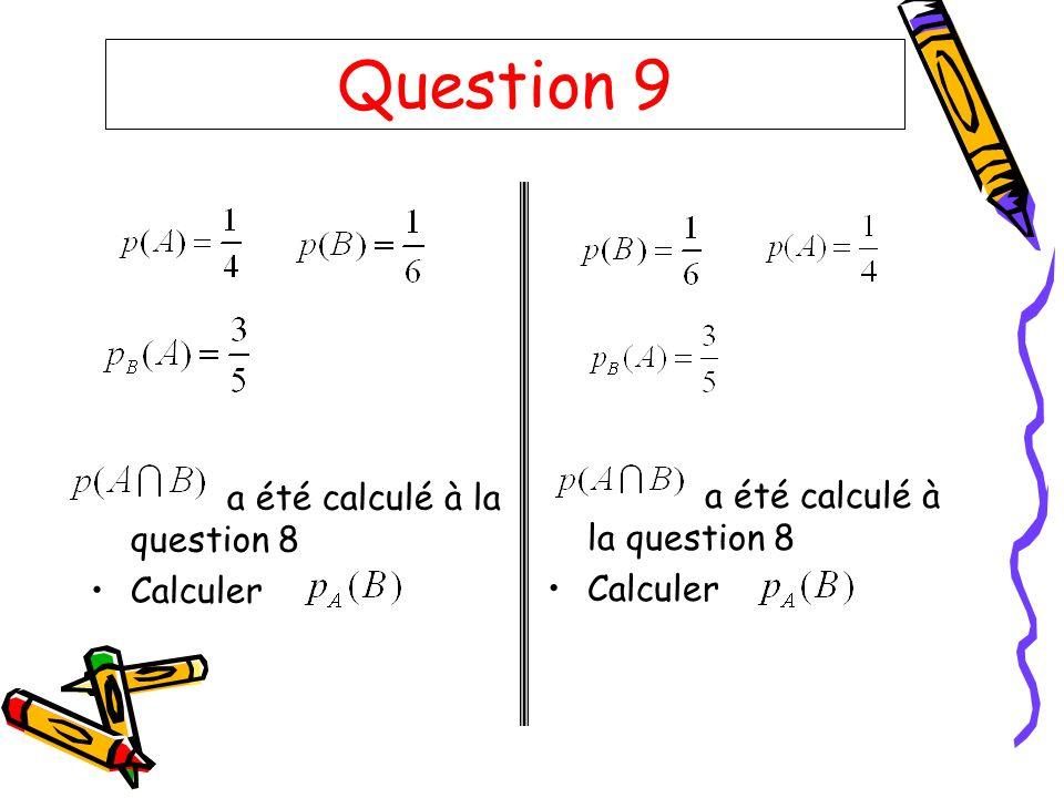 Question 9 a été calculé à la question 8 Calculer a été calculé à la question 8 Calculer