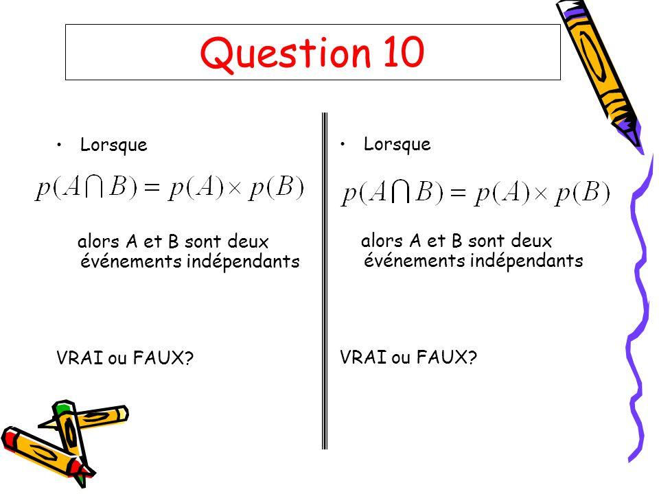 Question 10 Lorsque alors A et B sont deux événements indépendants VRAI ou FAUX? Lorsque alors A et B sont deux événements indépendants VRAI ou FAUX?