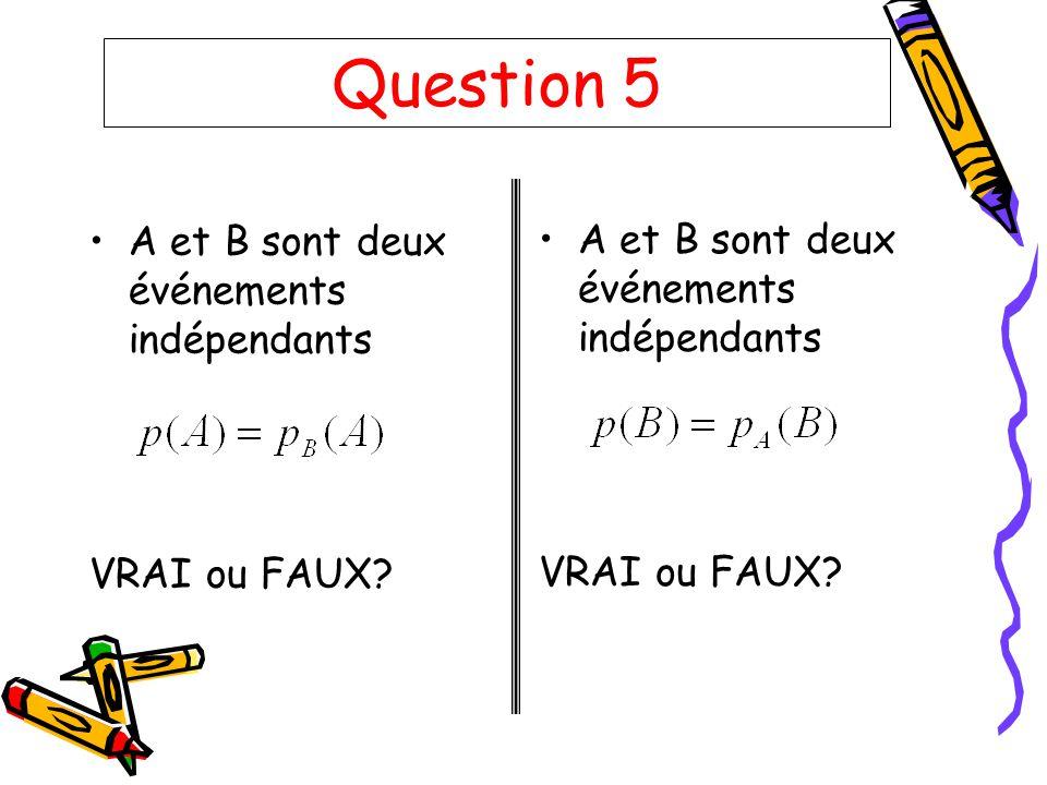 Question 5 A et B sont deux événements indépendants VRAI ou FAUX? A et B sont deux événements indépendants VRAI ou FAUX?