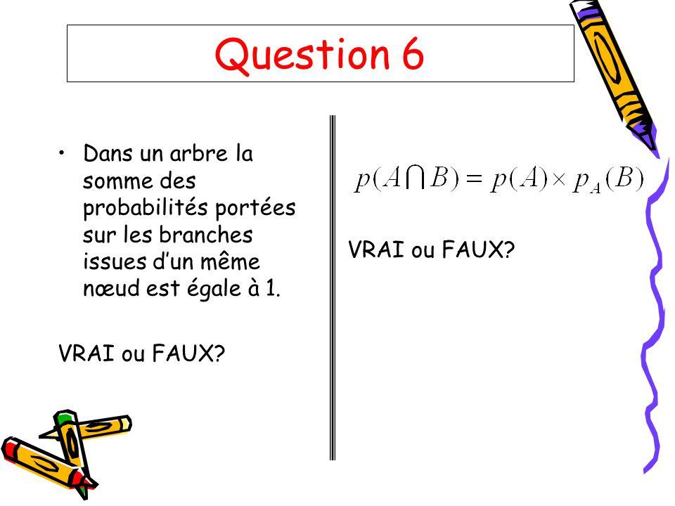 Question 6 Dans un arbre la somme des probabilités portées sur les branches issues dun même nœud est égale à 1. VRAI ou FAUX?
