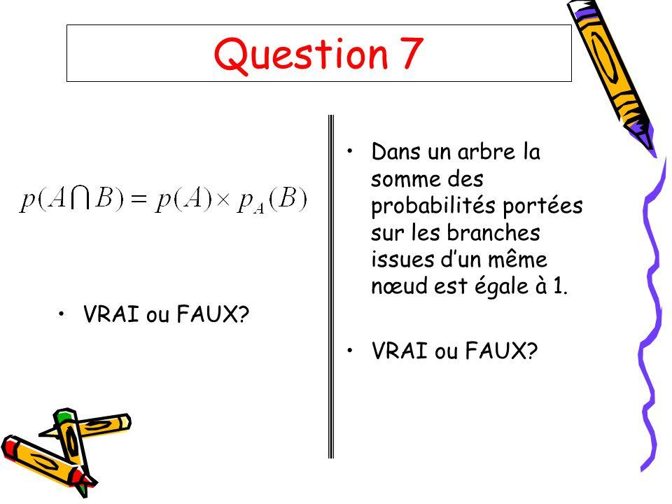 Question 7 VRAI ou FAUX? Dans un arbre la somme des probabilités portées sur les branches issues dun même nœud est égale à 1. VRAI ou FAUX?
