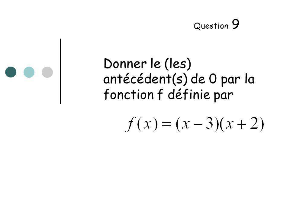 Donner le (les) antécédent(s) de 0 par la fonction f définie par Question 9