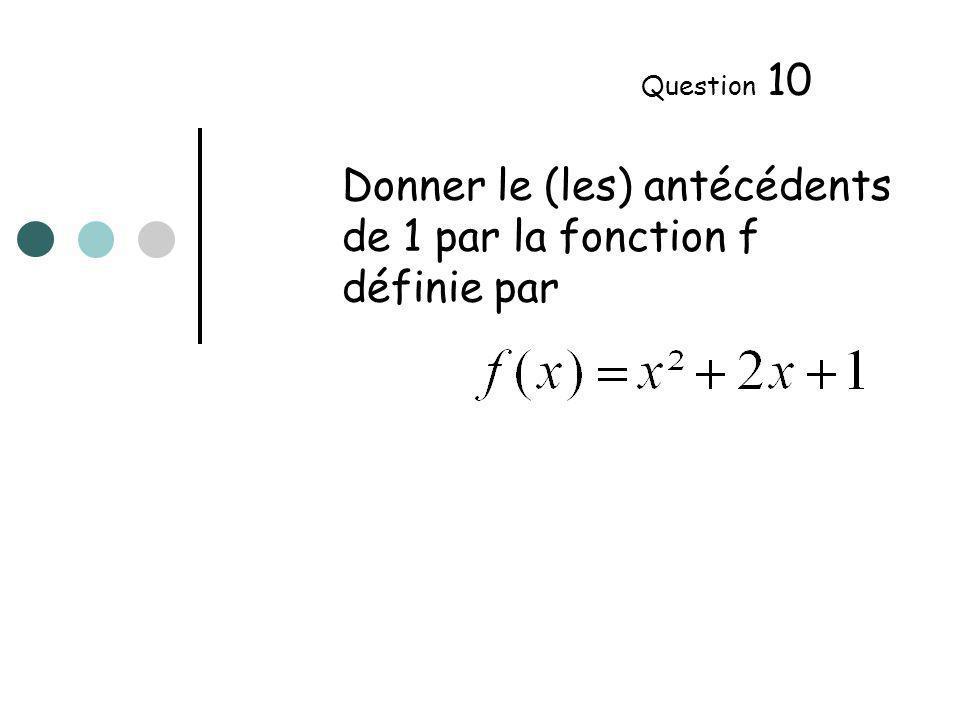 Donner le (les) antécédents de 1 par la fonction f définie par Question 10
