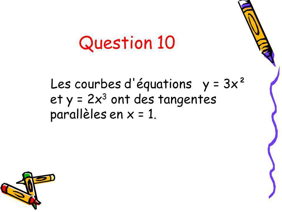 Question 10 Les courbes d'équations y = 3x² et y = 2x 3 ont des tangentes parallèles en x = 1.