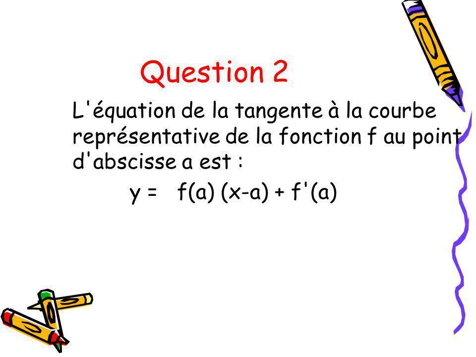 Question 2 L'équation de la tangente à la courbe représentative de la fonction f au point d'abscisse a est : y = f(a) (x-a) + f'(a)