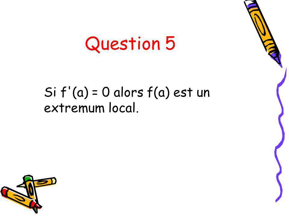 Question 5 Si f'(a) = 0 alors f(a) est un extremum local.