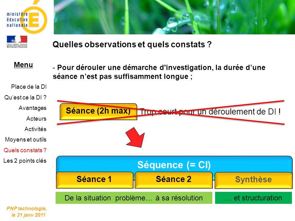 PNP technologie, le 31 janv 2011 Séance (2h max) Trop court pour un déroulement de DI ! Menu Place de la DI Quest ce la DI ? Avantages Acteurs Activit