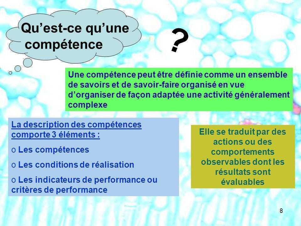 8 ? Quest-ce quune compétence Une compétence peut être définie comme un ensemble de savoirs et de savoir-faire organisé en vue dorganiser de façon ada