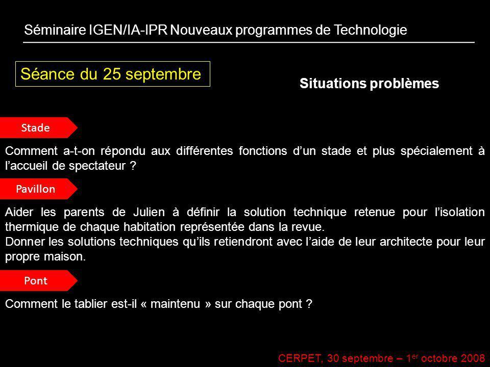 CERPET, 30 septembre – 1 er octobre 2008 Séance du 25 septembre Situations problèmes Séminaire IGEN/IA-IPR Nouveaux programmes de Technologie Stade Pa