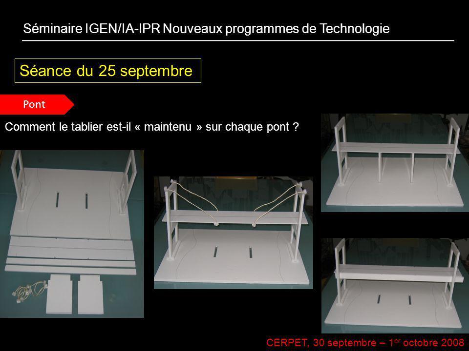 CERPET, 30 septembre – 1 er octobre 2008 Séance du 25 septembre Séminaire IGEN/IA-IPR Nouveaux programmes de Technologie Pont Comment le tablier est-i