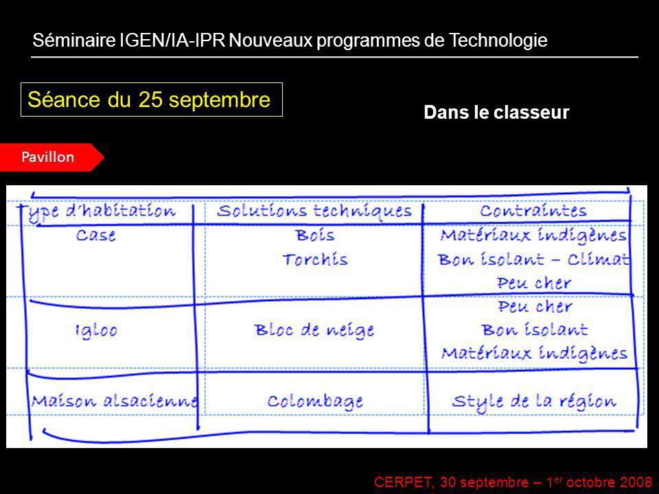 CERPET, 30 septembre – 1 er octobre 2008 Séance du 25 septembre Dans le classeur Séminaire IGEN/IA-IPR Nouveaux programmes de Technologie Pavillon