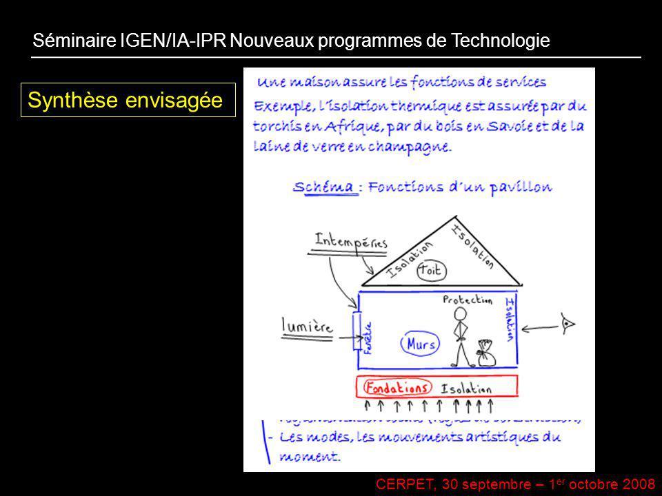 CERPET, 30 septembre – 1 er octobre 2008 Synthèse envisagée Séminaire IGEN/IA-IPR Nouveaux programmes de Technologie