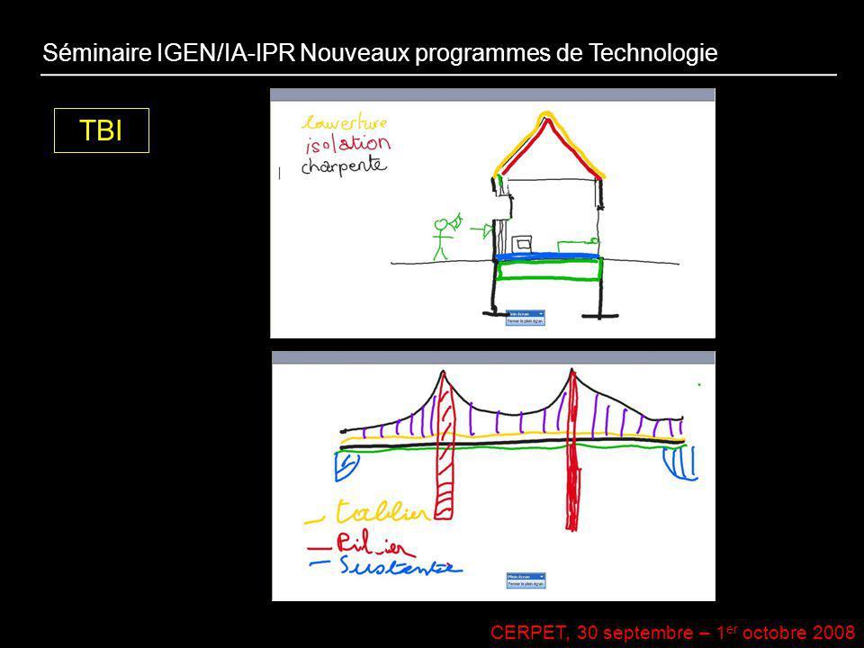 CERPET, 30 septembre – 1 er octobre 2008 TBI Séminaire IGEN/IA-IPR Nouveaux programmes de Technologie