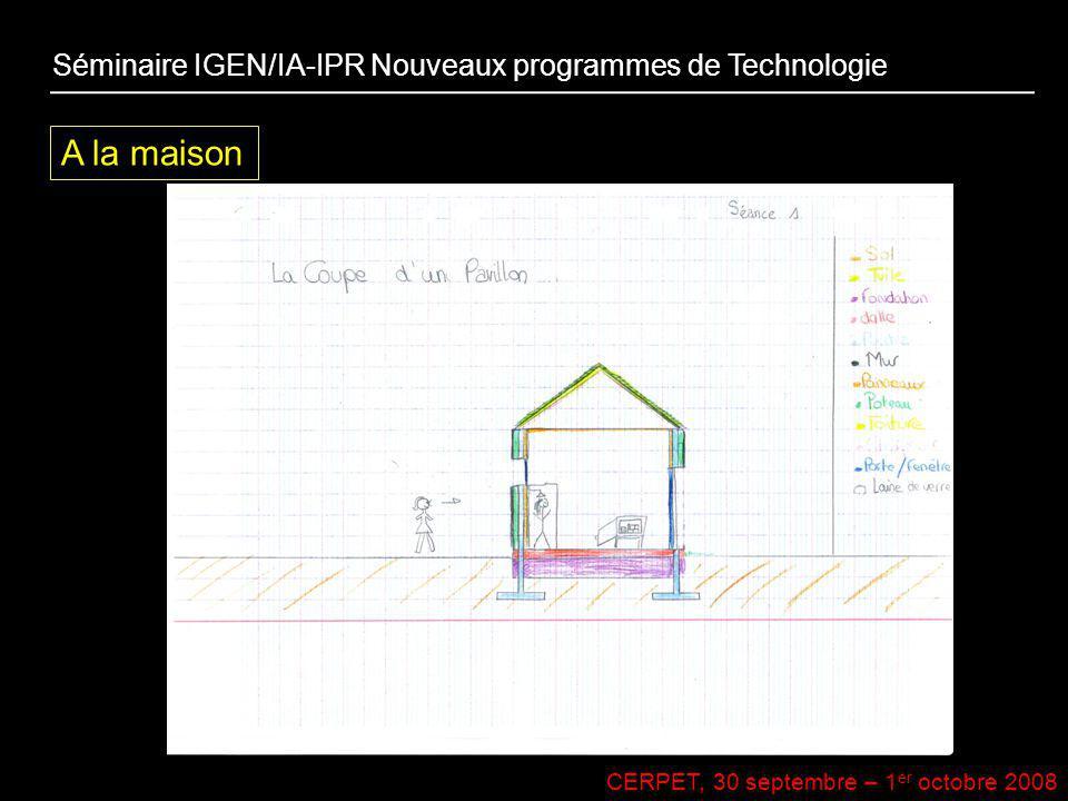 CERPET, 30 septembre – 1 er octobre 2008 A la maison Séminaire IGEN/IA-IPR Nouveaux programmes de Technologie