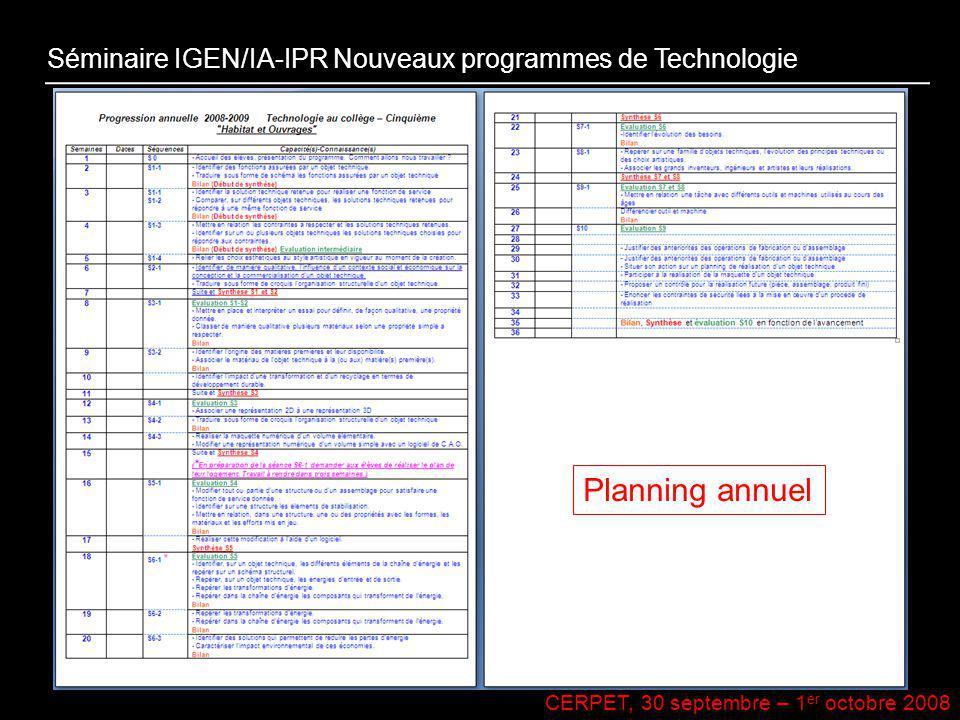 CERPET, 30 septembre – 1 er octobre 2008 Séminaire IGEN/IA-IPR Nouveaux programmes de Technologie Planning annuel